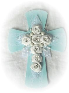 Sweetest Cottage Chic AQUA Hand Painted CROSS by RoseChicFriends, $17.99