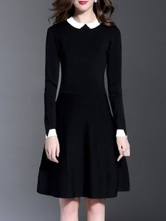 Shop Midi Dresses - Black Long Sleeve Knitted Peter Pan Collar Midi Dress online. Discover unique designers fashion at StyleWe.com.