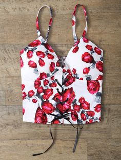 Padded Rose Print Lace Up Bralet Top FLORAL: Tank Tops | ZAFUL