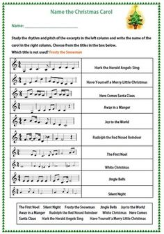 MUSIC: NAME THE CHRISTMAS CAROL  I would like to do this with my middle schoolers once they can sight-read!