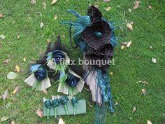Flax flower wedding bouquets. Flower Bouquet Wedding, Bridal Bouquets, Flax Weaving, Flax Flowers, Flower Ideas, Flower Arrangements, Ribbon, Wedding Ideas, Wreaths
