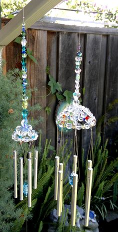 Crystal up-cycled chimes hand made by me.