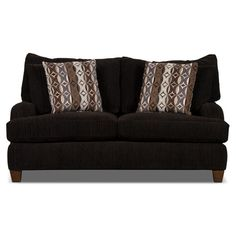 Living Room Furniture - Putty Chenille Studio-Size Loveseat – Chocolate