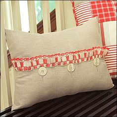Button Accent Pillow with Ruffle