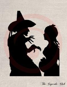 Custom Clip Art Design Transfer Digital File Vintage Download DIY Scrapbook Shabby Chic Silhouette Wizard of Oz Dorothy Witch No. 0737