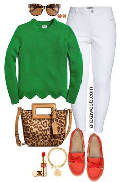 Plus Size Spring Green Outfit – Alexa Webb Plus Size Spring Green Outfit with Scallop Hem Sweater, Leopard Bag, Orange Loafers, and White Ankle Jeans – Alexa Webb Look Fashion, Winter Fashion, Fashion Outfits, Womens Fashion, Classic Fashion, Fashion Clothes, Mode Plus, Moda Chic, Legging Outfits