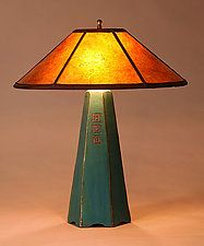 Six-Sided Lamp in Viridian with Freehand Design by Jim Webb (Ceramic Table Lamp)