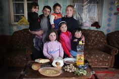 Seven families from around the world pictured with one week of groceries. Sobering.