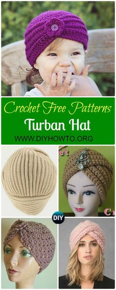 7 Crochet Turban Hat Free Patterns via @diyhowto