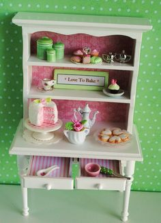 Miniature Kitchen Hutch Filled With Goodies