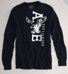 American Eagle Mens Long Sleeve Athletic Fit Graphic T-Shirt - Vulcinity Tomboy Fashion, Tomboy Style, Mens Fashion, Lifestyle Store, After Life, Men's Wardrobe, Jean Shirts, Mens Clothing Styles, Types Of Fashion Styles