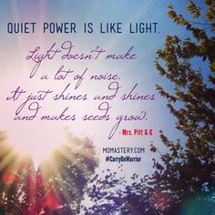 Quiet power is like light. Light doesn't make a lot of noise. It just shines and shines and makes seeds grow. Carry On, Quiet Warriors. #carryonwarrior  http://momastery.com/blog/