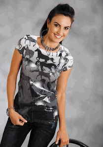 Sequined Sublimation Knit Shirt