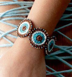 Crochet Jewelry Patterns, Crochet Accessories, Crochet Bracelet, Crochet Earrings, Crochet Stitches, Knit Crochet, Jewelry Crafts, Handmade Jewelry, Crochet Decoration