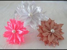 Flor Beliscada - Flor Queimada - Modelo #2 - FLor de fita de Cetim - Fabric Flower - YouTube