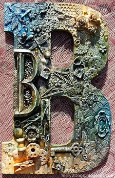 mixed media art I almost forgot to post these two letters I altered using lots of mixed media for a couple of fabulous friends! Sure hope Brenda and Chris l. Letter A Crafts, Letter B, Altered Canvas, Altered Art, Mixed Media Canvas, Mixed Media Collage, Mix Media, Art Projects, Projects To Try
