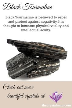 A powerful protective stone, Black Tourmaline grows in sparkling columnar patterns with beautiful inclusions. This affordable stone is perfect for wearing, keeping near your bed, or placing around your house. Check some out at The Crystal Man! Minerals And Gemstones, Crystals Minerals, Rocks And Minerals, Crystal Healing Stones, Stones And Crystals, Black Crystals, Wiccan, Magick, Witchcraft