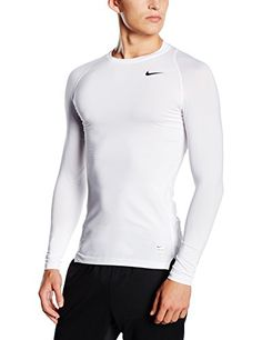 Nike Pro Combat 20 Mens Long Sleeve DriFit Shirt XXLarge WhiteMatte SilverBlack *** For more information, visit image link.(This is an Amazon affiliate link and I receive a commission for the sales)