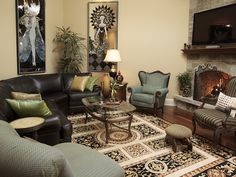 A mixture of new and old items brings eclectic style to this living room. Handmade Russian glass art mixes wonderfully with an old accent chair. The key to making all of the mismatched items look good together is to keep everything else as neutral as possible.
