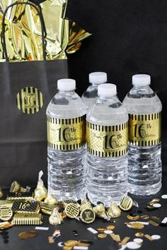 Black and Gold Birthday Metallic Foil Water Bottle Labels make for the perfect birthday party favor. Click now to learn more. Sweet 16 Party Decorations, Sweet 16 Party Favors, 16th Birthday Decorations, Sweet 16 Themes, 1920s Decorations, Boy 16th Birthday, Girl Birthday Themes, Sweet 16 Birthday, Birthday Party Favors