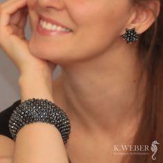 bransoletka i kolczyki,hematyt,beading - Komplety - Biżuteria w ArsNeo