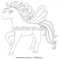 Baby fabulous unicorn black outline for coloring.