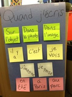 Learn how literacy coach Mindi Rench has helped middle school world language teachers to construct charts with their students, which has helped students' writing in French and Spanish. French Teaching Resources, Teaching French, Teaching Activities, Teaching Tools, Teaching Ideas, Core French, Ap French, French Stuff, World Language Classroom