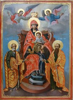 Religious Images, Religious Icons, Religious Art, Holy Rosary, Orthodox Christianity, Madonna And Child, Orthodox Icons, Medieval Art, Blessed Mother
