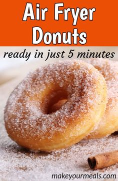 Easy Air Fryer Donuts – Make these delicious donuts in just 5 minutes and no deep-frying! Easy Air Fryer Donuts – Make these delicious donuts in just 5 minutes and no deep-frying! Air Fryer Oven Recipes, Air Frier Recipes, Air Fryer Dinner Recipes, Air Fryer Recipes Donuts, Air Fryer Doughnut Recipe, Donut Recipes, Cooking Recipes, Meal Recipes, Fish Recipes