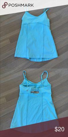 Lululemon tank - back detail -adjustable straps Lululemon blue tank with back detail and adjustable straps size 4. Has wear to it. Make me an offer! lululemon athletica Tops Tank Tops