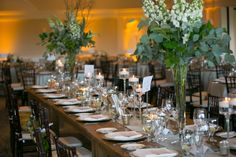 Abigail Scott Photography  Darien Country Club  Organic Wedding  flowering branches centerpiece
