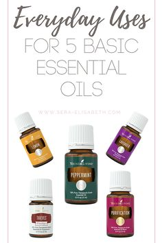 For some reason, essential oils can be pretty overwhelming at first. Here are 5 basic essential oils and a few ways to use them - let's make this easy!