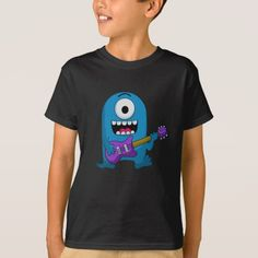Shop Cute Blue Monster Guitarist T-Shirt created by MrDoodle. Closet Staples, Fitness Models, Unisex, Stitch, Casual, Cute, Sleeves, Cotton, Mens Tops
