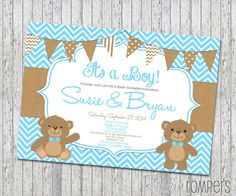 Teddy Bear Baby Shower Invitation by RockinRompers on Etsy, $12.00