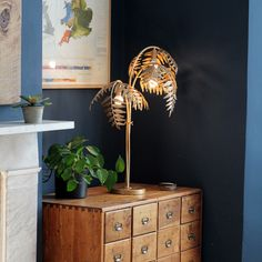 Quirky Home Decor The Restoration-The Restoration - Antique Gold Palm Table Lamp - Gold Art Deco Bedroom, Bedroom Decor, Dark Blue Living Room, Painted Cupboards, Tree Table, Vintage Interiors, Living Room Remodel, Antique Gold, Decoration