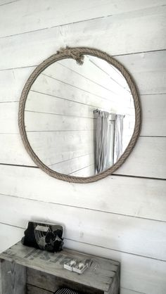 DIY rope mirror in a cottage interior