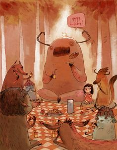 art, illustration, animal, figure, girl, sitting, monster, woodland, tree, food, picnick. //  Aurélie Neyret