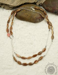 Rhodocrosite and sterling silver necklace by EarthWhorls.  One of a kind, handmade, free shipping, easy online shopping!