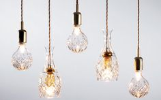 Hand-blown and hand-cut crystal light bulbs, as show at the Milan Furniture Fair. Made in Cumbria, UK.