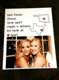 Long distance friendship t ideas of diy bff gifts Bff Gifts, Grad Gifts, Best Friend Gifts, Cute Gifts, Long Distance Friendship, Long Distance Gifts, Friend Birthday Gifts, Diy Birthday, Presents For Friends