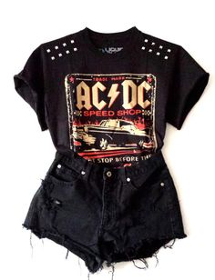 ACDC Studded Tee i hate short shorts, but i would totally wear that!!
