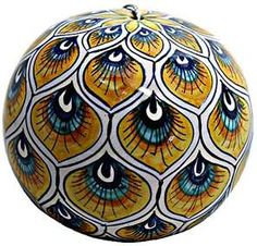 Hand Painted Ceramic Majolica Ceramic Christmas Ornament - I'd love to have one of these...