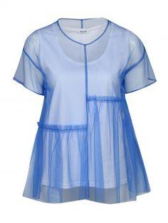 Купить Weekend MaxMara голубая блуза из шелка свободного кроя с узором  (365035) b2ead4c8a4e