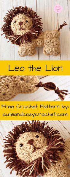 Leo the Lion | Cute & Cozy Crochet | Free Crochet Pattern | Crochet Lion | Granny Squares | Stuffed Animal | Crochet Softy | Softies | Softie | Intermediate Pattern | Lion | Stuffed Lion | Birthday | Holiday | Gift | Gift for Kids | Cute | Adorable | Sweet