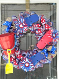 Patriotic Red, White and Blue Sand Bucket Flip Flop Deco Mesh Wreath on Etsy, $42.00