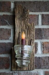 Old barn board light; Omgosh! I think I have one of those glass thingies! And I was holding on to it cuz I just KNEW I would find a use for it! I'm totally making this!
