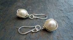Pearls wrapped in sterling silver earrings by iseadesigns on Etsy, $28.90