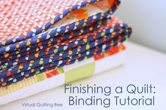 Easy DIY tutorial for binding a quilt. How to finish and bind a quilt. Baby Quilt Tutorials, Quilting Tutorials, Sewing Tutorials, Sewing Projects, Sewing Ideas, Sewing Tips, Sewing Basics, Sewing Crafts, Quilting Tips