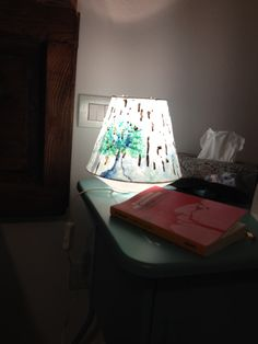 Ikea Paper lamp makeover. watercolor and wax.