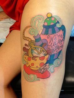 Pocket Watch In Teacup Alice In Wonderland Tattoo On Left Thigh Body Art Tattoos, New Tattoos, I Tattoo, Sleeve Tattoos, Cool Tattoos, Future Tattoos, Teacup Tattoo, Disney Tattoos, Tattoo Designs